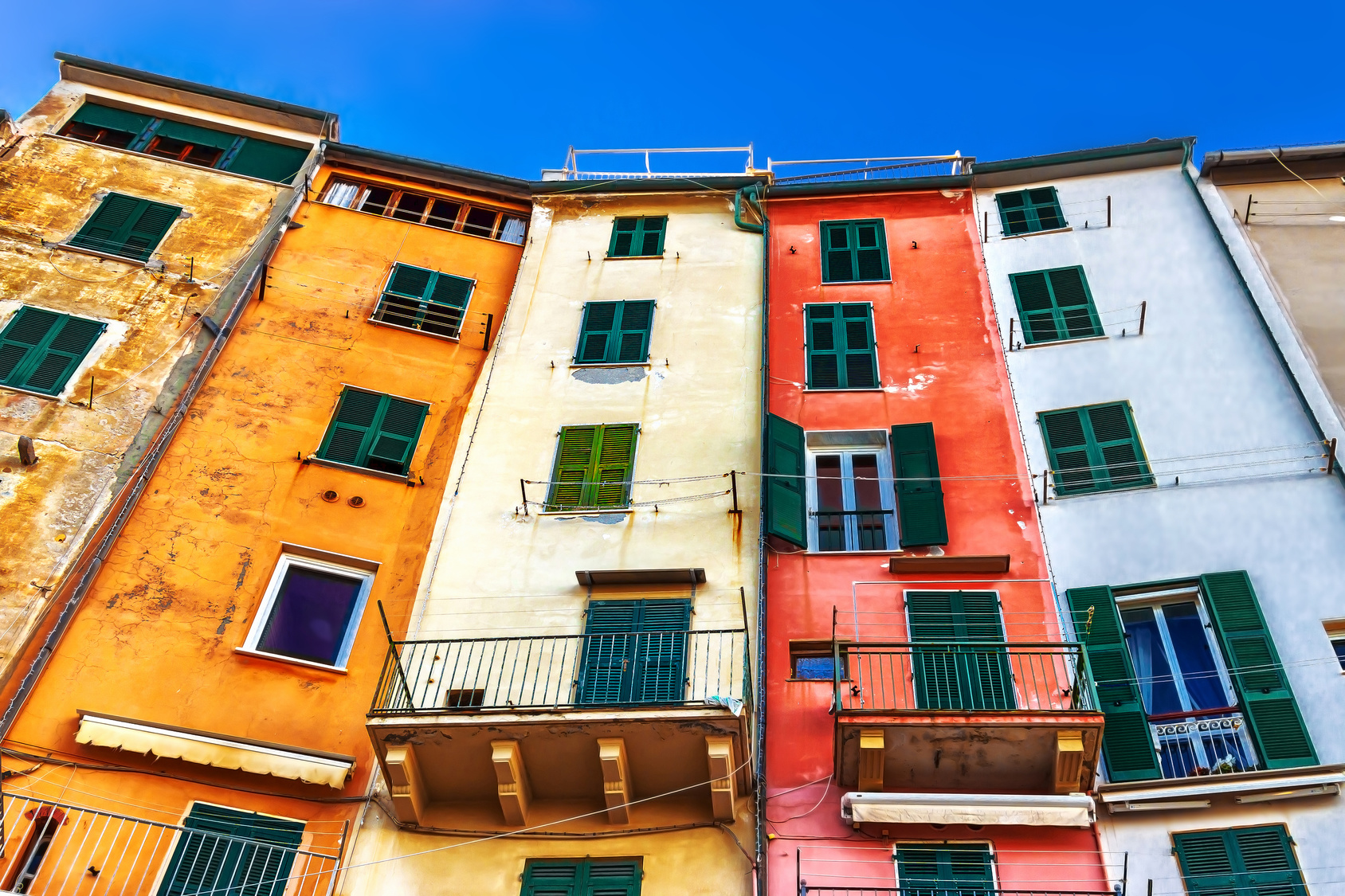 Old houses in Porto Venere, Liguria, Italy. Porto Venere architecture. Portovenere colorful houses.