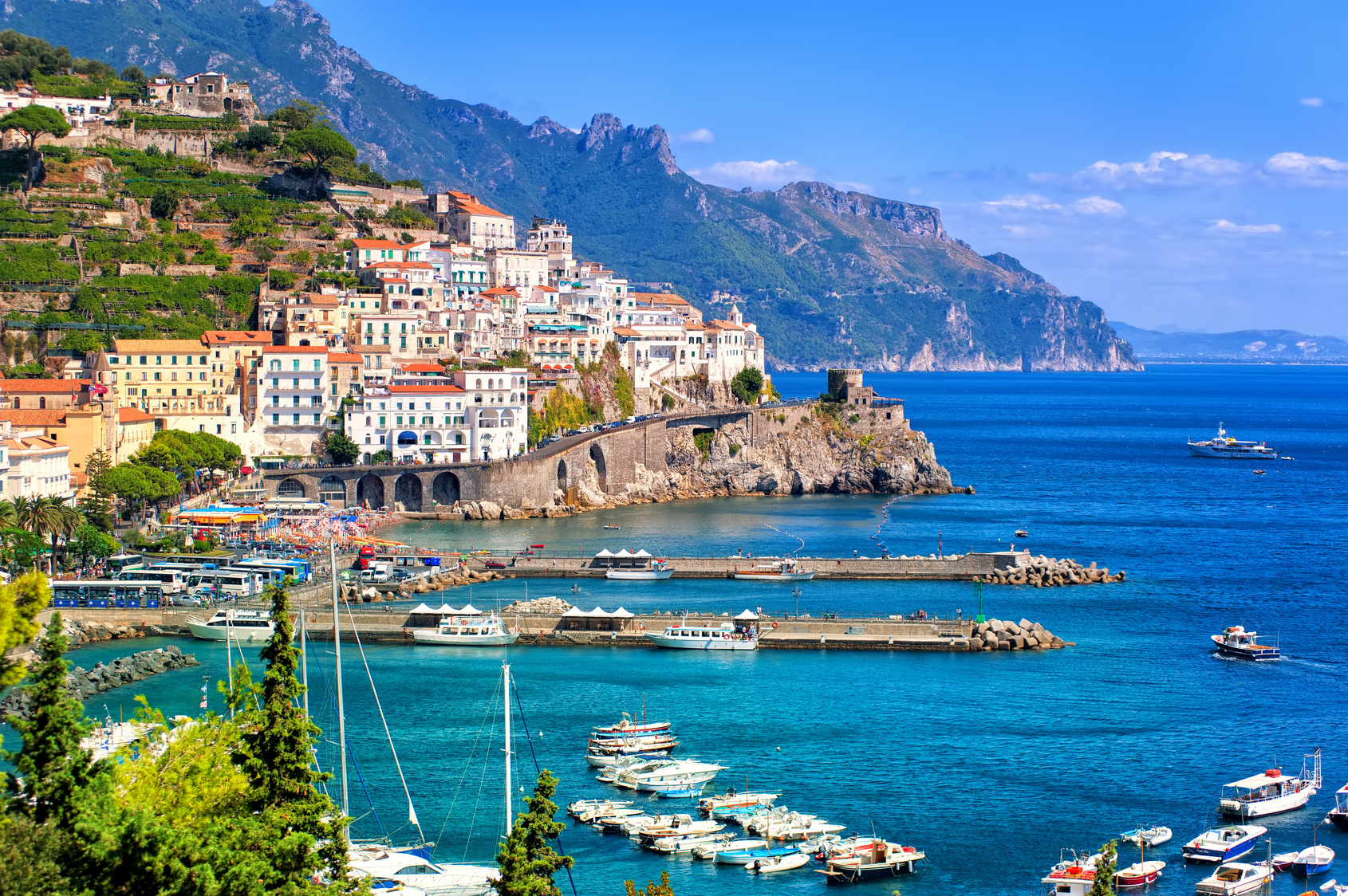 Amalfi town on a rocky coast of the Gulf of Salern, Campania, Italy