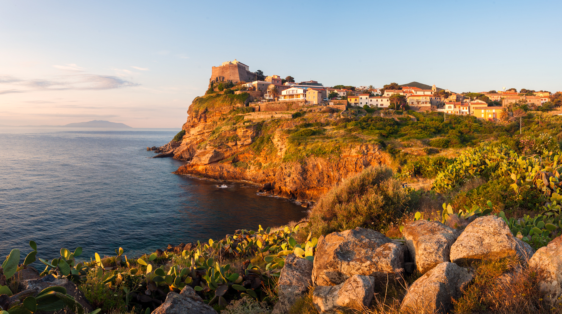 Panorama of Capraia city on the rock of Isola di Capraia island