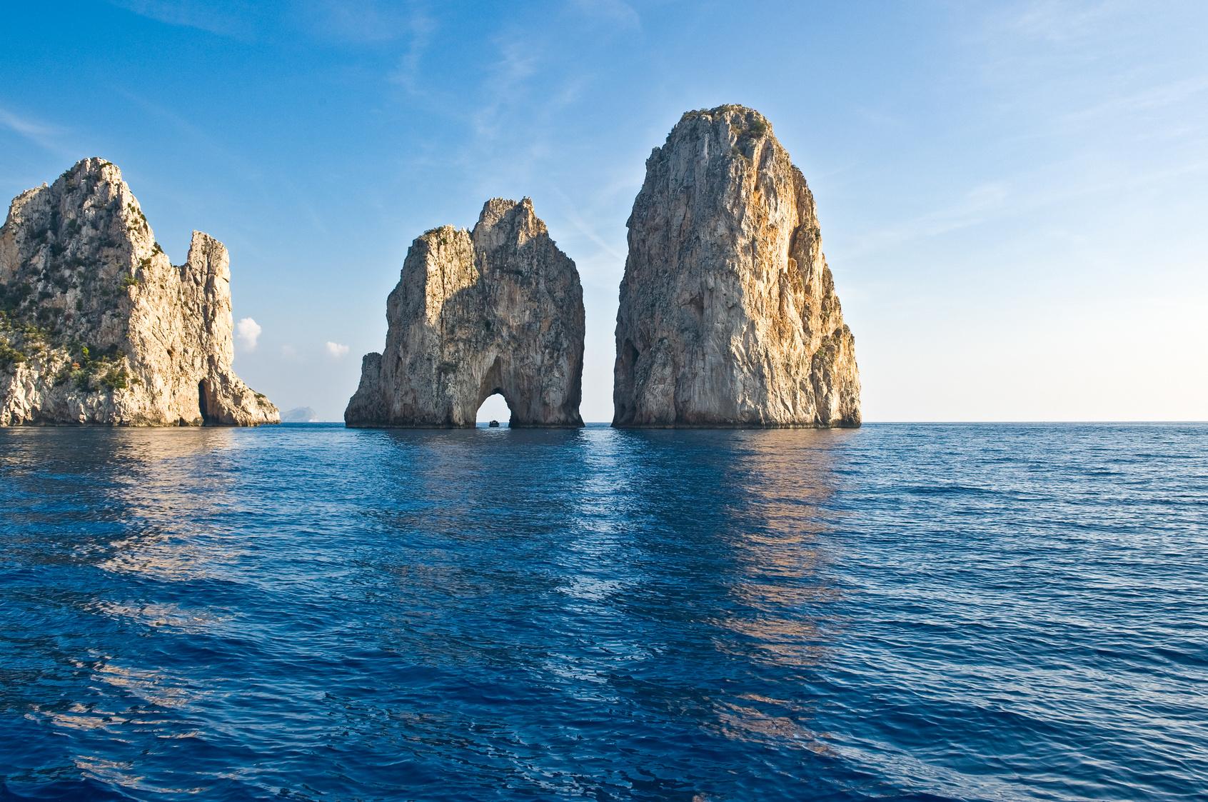 Italy,Capri the famous Faraglioni rocks