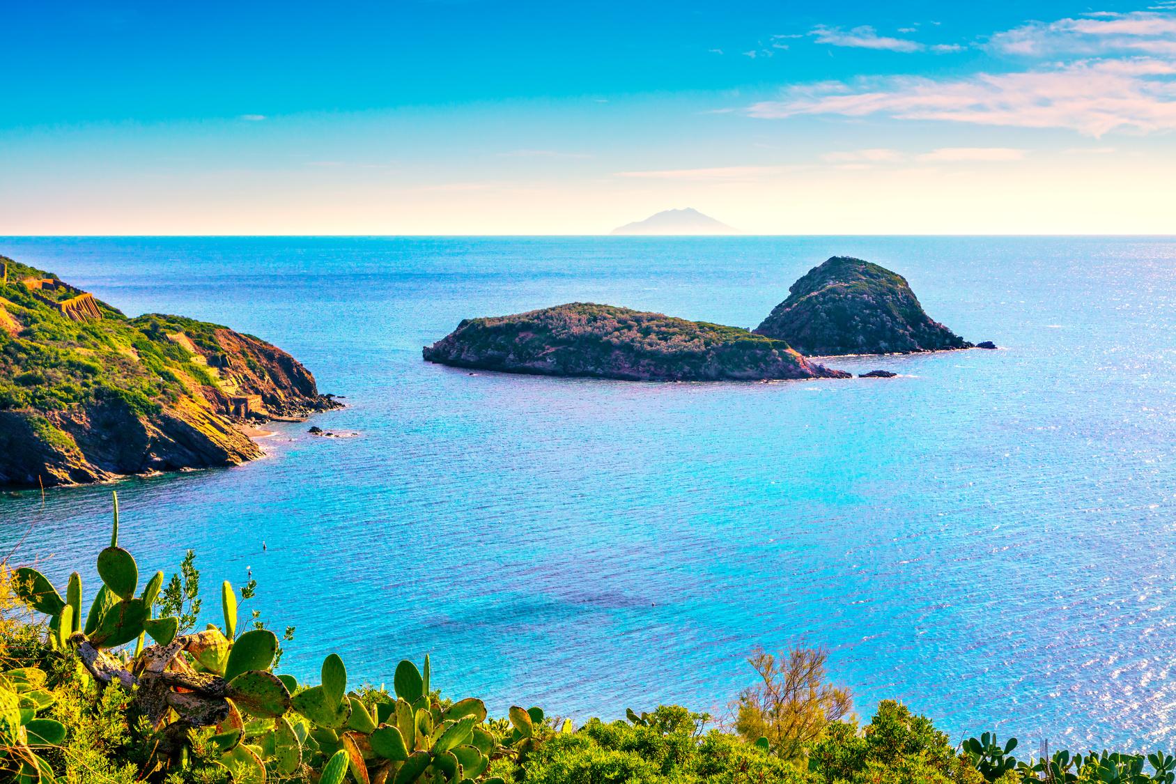 Elba island, Innamorata Beach and Gemini islets view Capoliveri Tuscany, Italy.