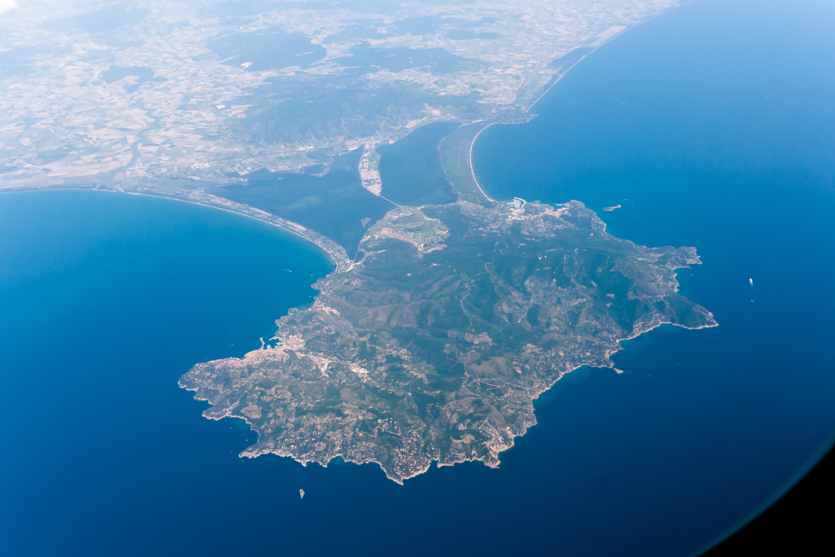 Aerial view of Monte Argentario, Italy